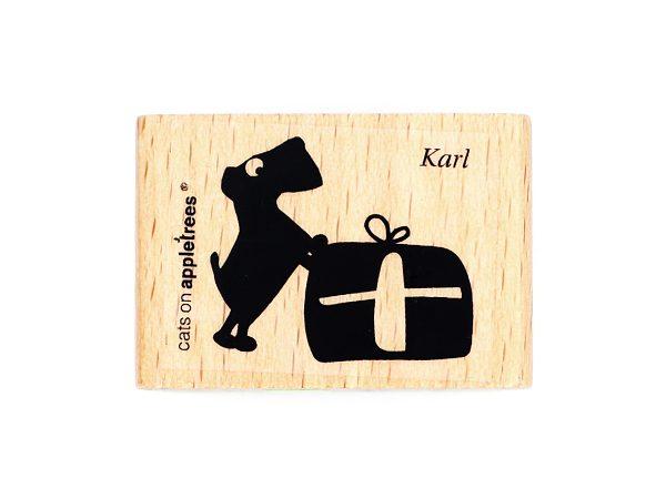 Hund Karl mit Geschenk – Stempel