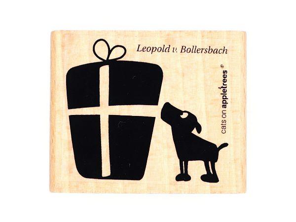 Hund Leopold mit Geschenk – Stempel